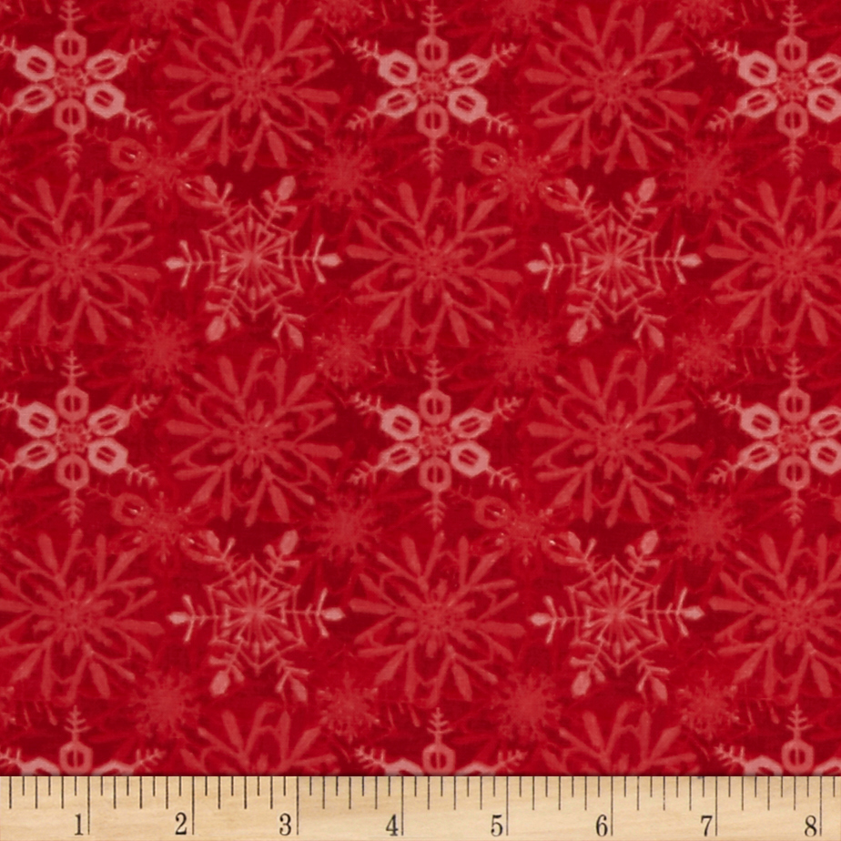 Snow Fun Snowflake Red Fabric By The Yard by Red Rooster in USA