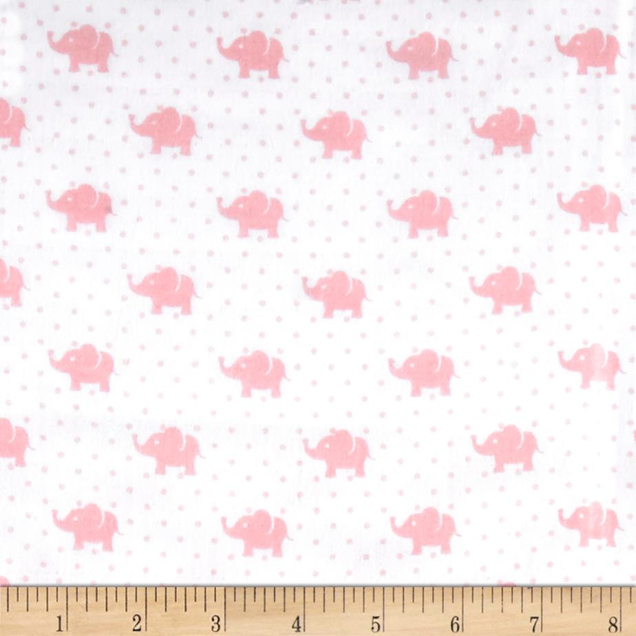 Kaufman Little Prints Double Gauze Elephant Pink