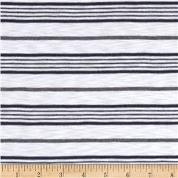 Designer Yarn Dyed Slub Jersey Knit Stripe White/Navy