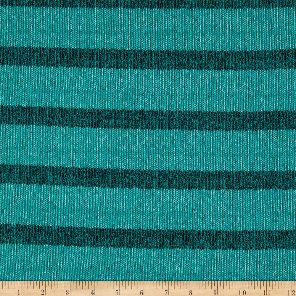 Stretch Sweater Knit Stripes Teal Green