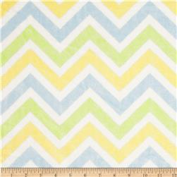 Minky Cuddle Zig Zag Lime/Baby Blue/Snow Fabric