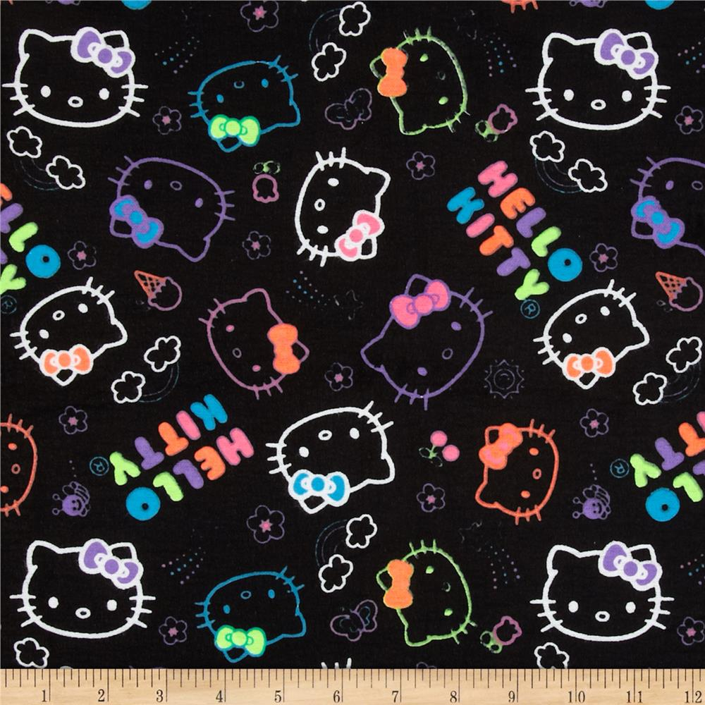 Hello Kitty Flannel Neon Doodle Allover Black Discount