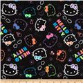 Hello Kitty Flannel Neon Doodle Allover Black
