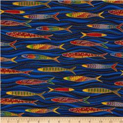 Laurel Burch Sea Spirits Metallic Fish Swimming Blue