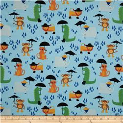 Rainforest Fun Animals & Umbrellas Blue