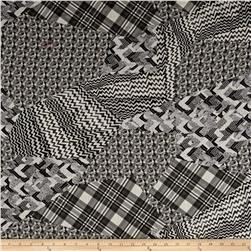 Telio Digital Printed Linen Patchwork White/Black