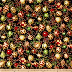 Kaufman Holiday Flourish Metallic Bulbs Black