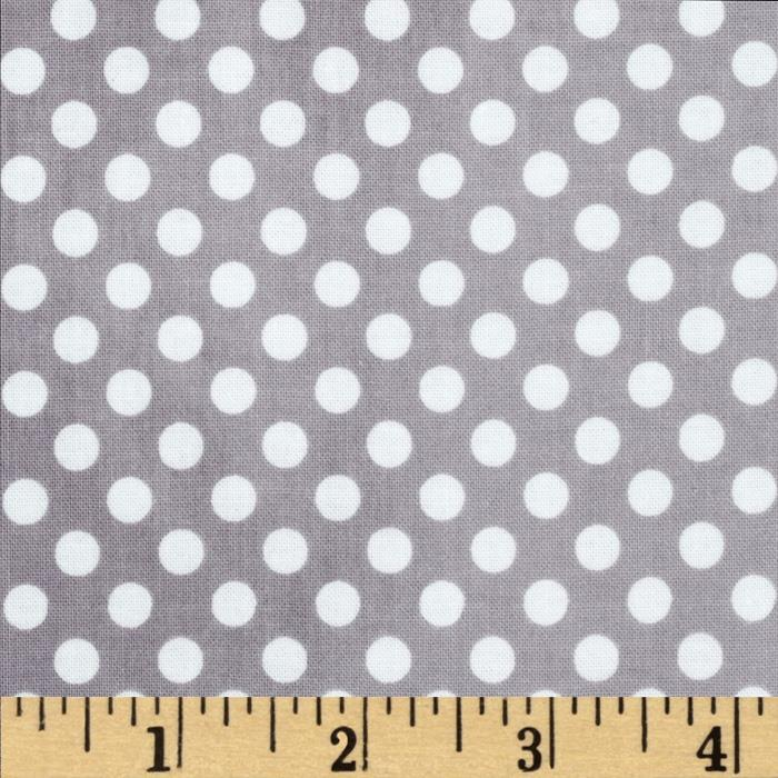Riley Blake Laminated Cotton Small Dots Grey/White