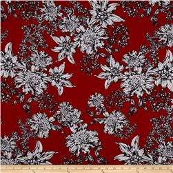 Double Brushed Poly Spandex Jersey Knit Floral Doodles Burgundy/Gray