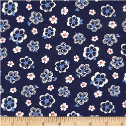 French Navy Tossed Flowers Navy Fabric