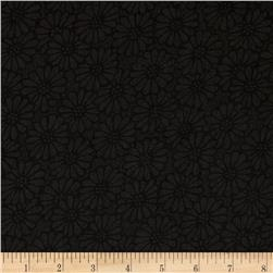 110'' Wide Quilt Backing Daisies Black