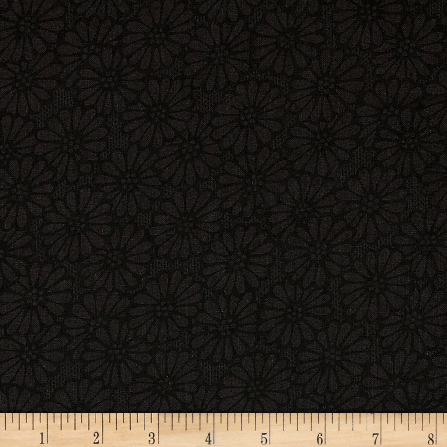 110'' Wide Quilt Backing Daisies Black Fabric