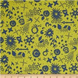Clover Sunshine Corsage Lime Fabric