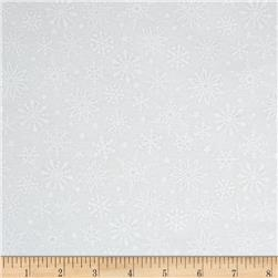 Riley Blake Merry Matryoska Flannel Snowflakes White