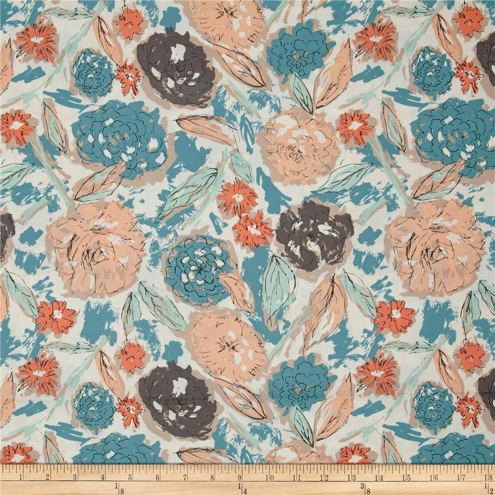 Art Gallery Tapestry Paper Flowers Parchment Fabric By The Yard