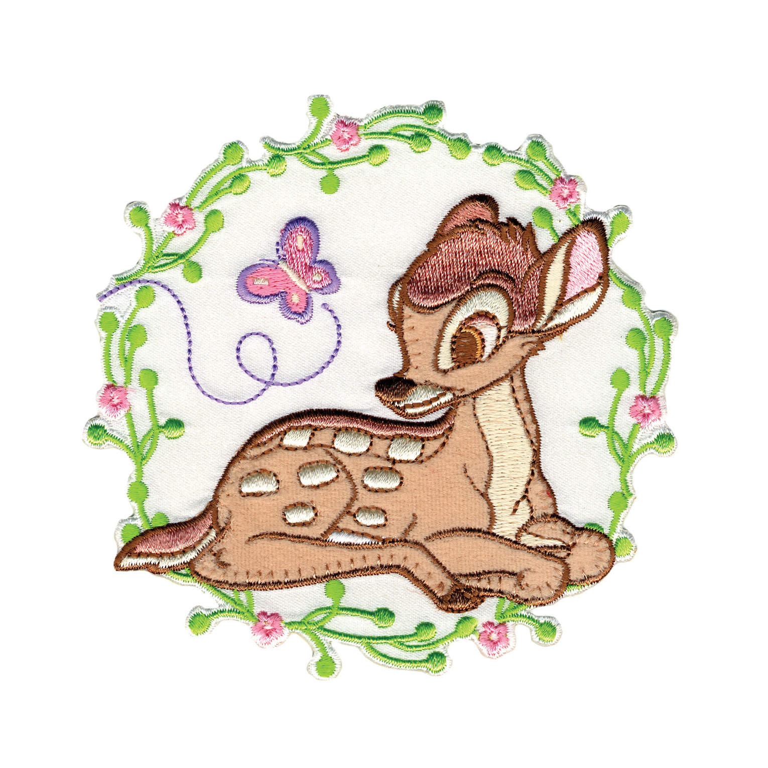 Disney Bambi Iron On Applique Bambi W/Butterfly In Flowers by Notions Marketing in USA
