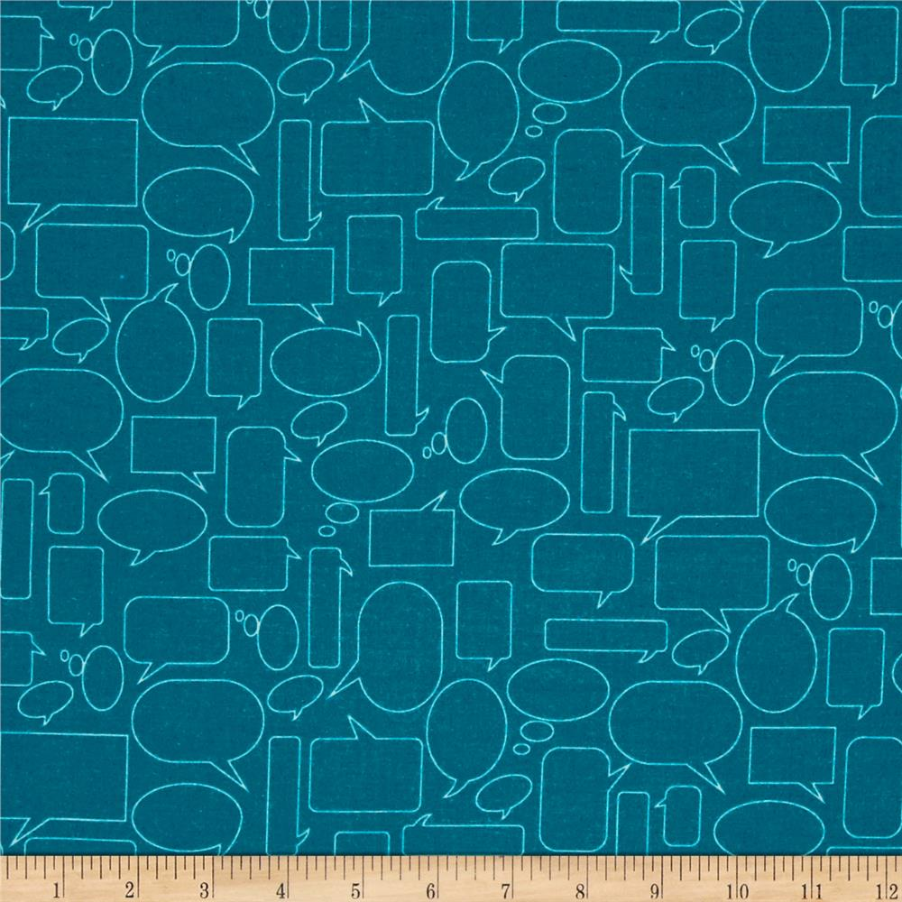 Moda Mixed Bag Flannel Quote This Teal