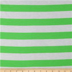 Designer Rayon Blend Jersey Knit Stripes Lime/White