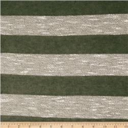 Stretch Sweater Knit Stripes Olive/Grey