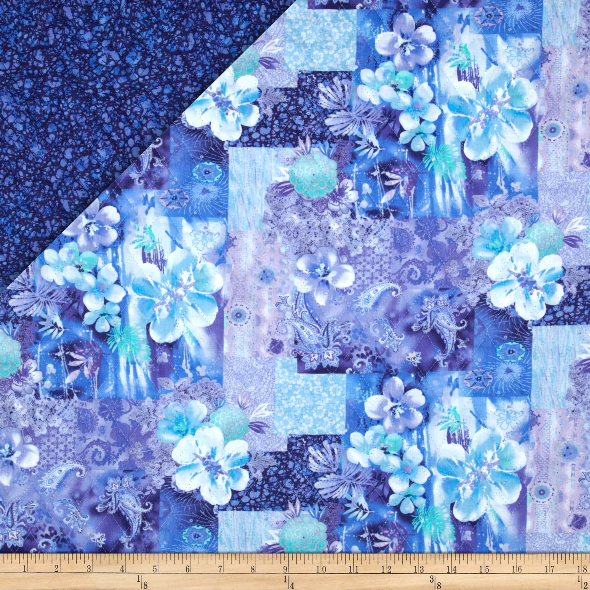 Lagoon Double Faced Quilted Floral Paisley Blue/Aqua Fabric