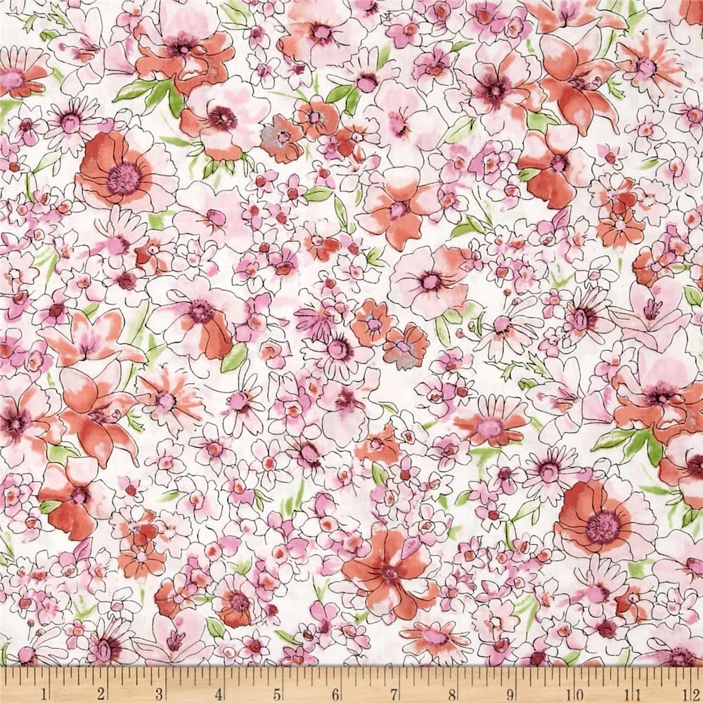 Kaufman London Calling Lawn Small Floral Pink