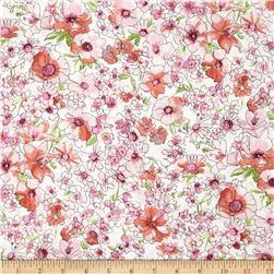Kaufman London Calling Lawn Watercolor Floral Pink Fabric