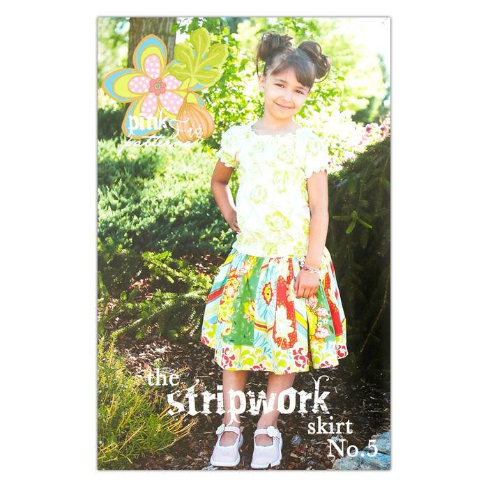 The Pink Fig Girly Stripework Girls Skirt Pattern