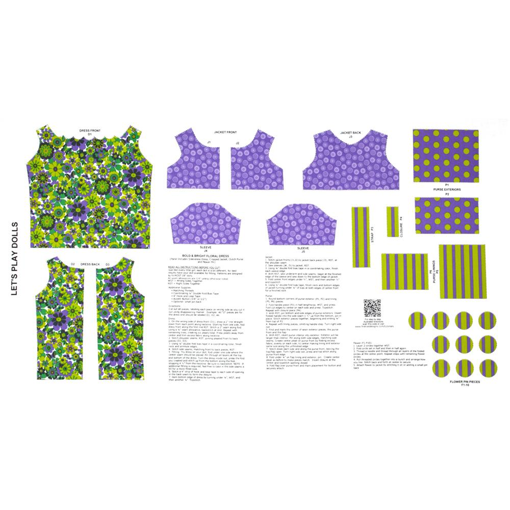 Lets Play Dolls Bold & Bright Floral Dress Panel Purple