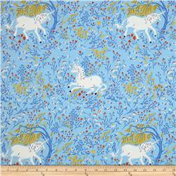 Heather Ross Far Far Away Unicorn Blue Fabric