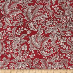Alchemy Metallic Floral Red/Silver Fabric
