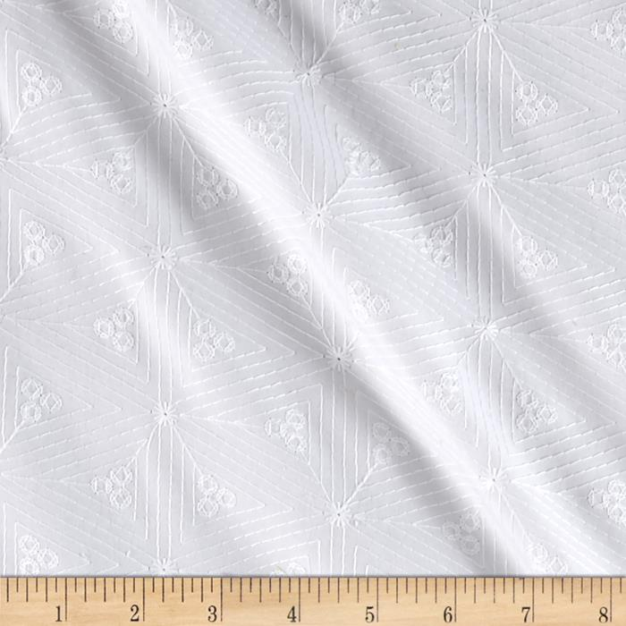 Kaufman Rebecca Embroidered Diamonds White