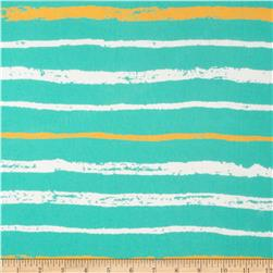 Chiffon Print Stripes Seafoam/Yellow