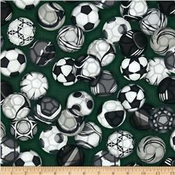 Sports Life 3 Soccer Balls Green Grass Fabric