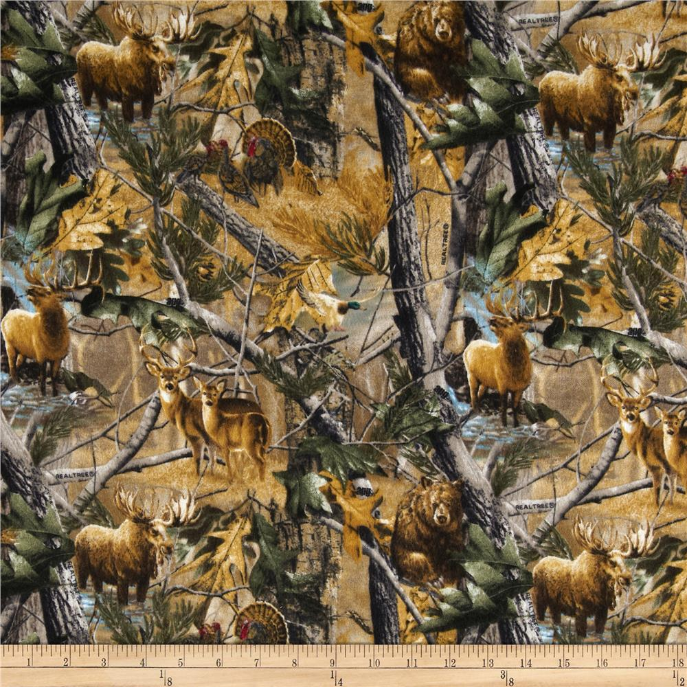 Realtree Flannel Forest Animals Multi Fabric By The Yard