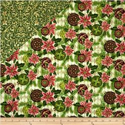 Peace on Earth Double Sided Quilted Pointsettia Pink