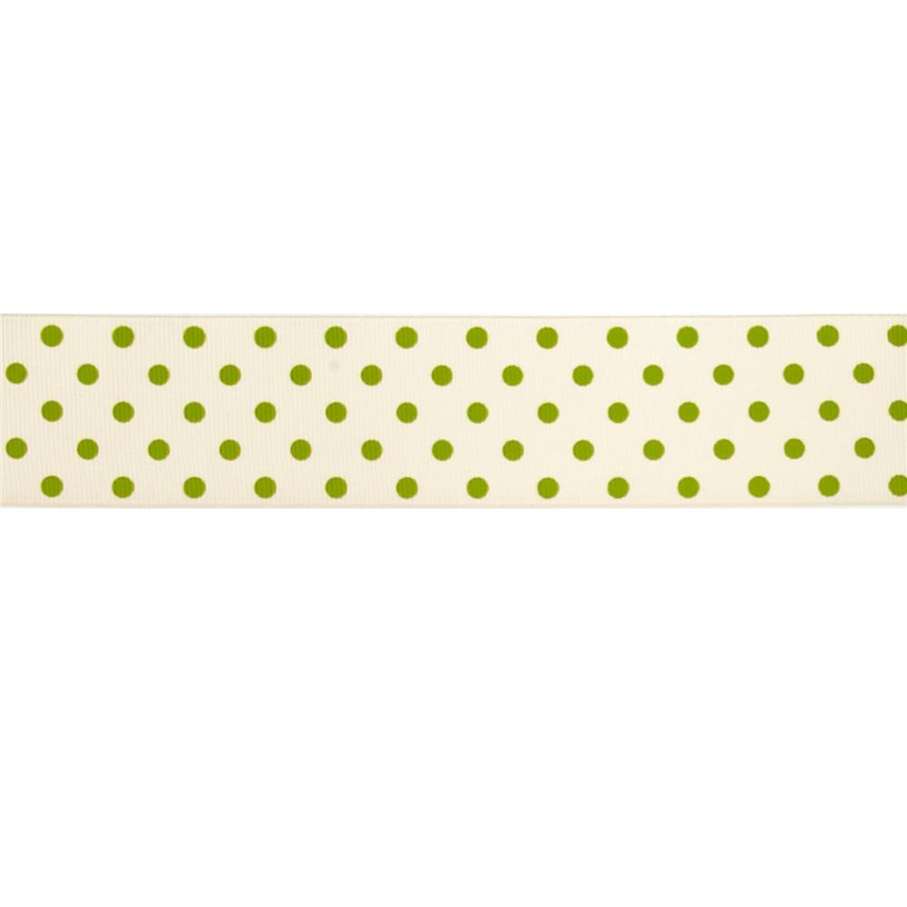 "May Arts 1 1/2"" Grosgrain Dots Ribbon Spool Champagne/Green"