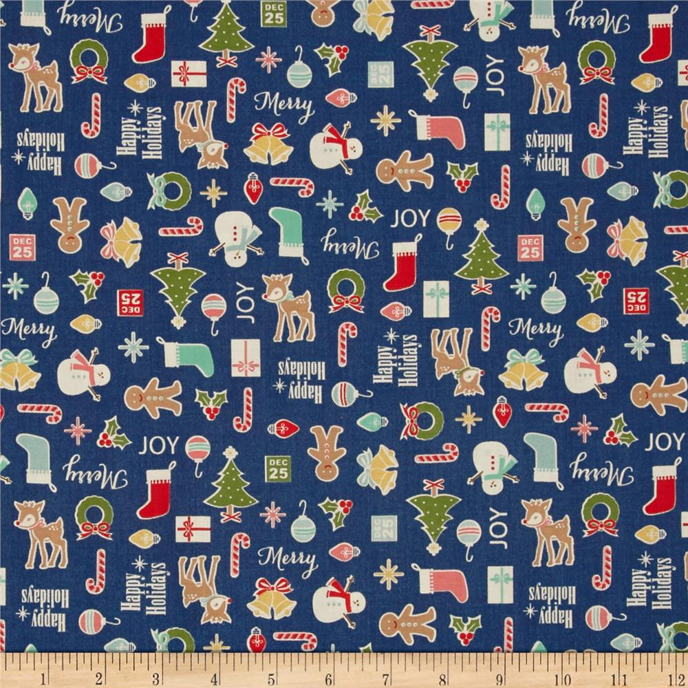 Riley Blake Cozy Christmas Main Navy