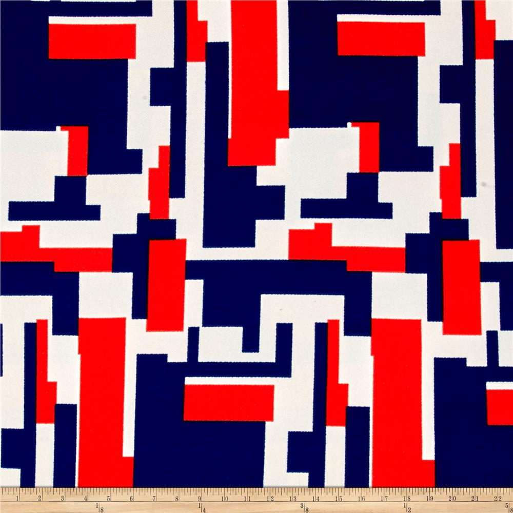 Liverpool Double Knit Geo Squares Blue/Red  Fabric By The Yard