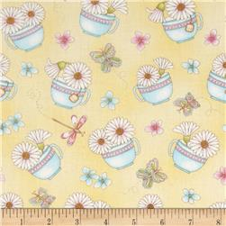 Peaceful Pastimes Daisies In A Teacup Yellow