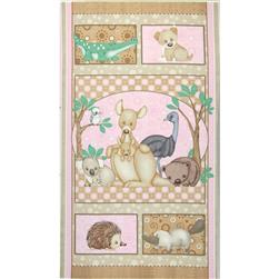 Outback Animals Panel Pink