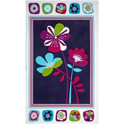 Punch Garden Flannel Panel Floral Retro Purple