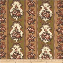 Harvest Palette Repeating Floral Stripe Brown
