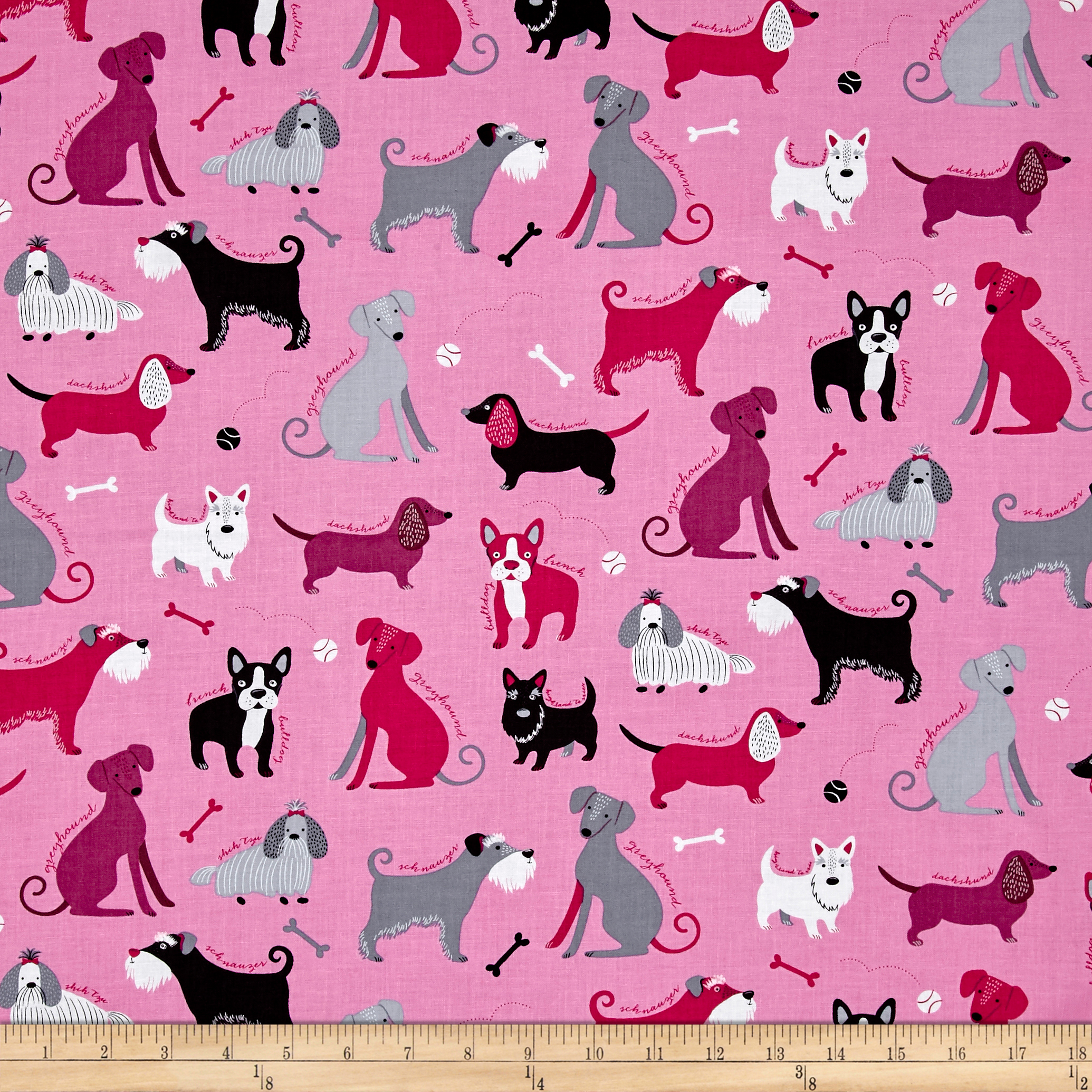 Kaufman Classy Canines Dogs and Bones Pink Fabric