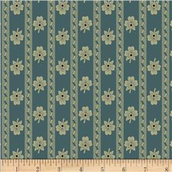 Paula Barnes Olde Townhouse Medium Floral Stripe Blue