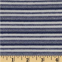 Designer Small Stripe Pique Knit Navy/Cream