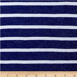 French Terry Stripe Royal/White