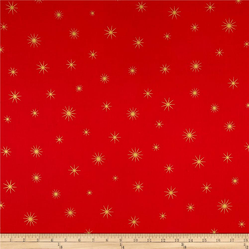 Shining star glitter gold red discount designer fabric for Star design fabric
