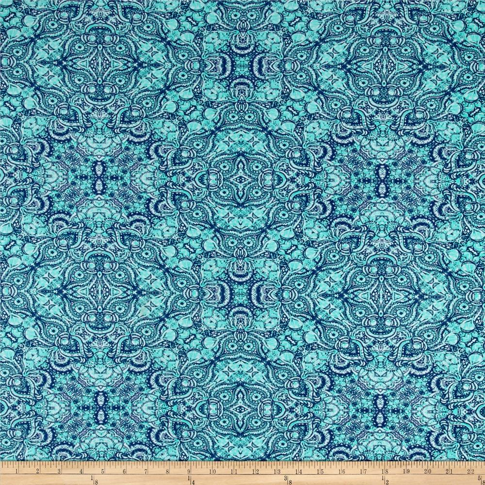 Stretch ITY Knit Abstract Owl Print Teal/Blue