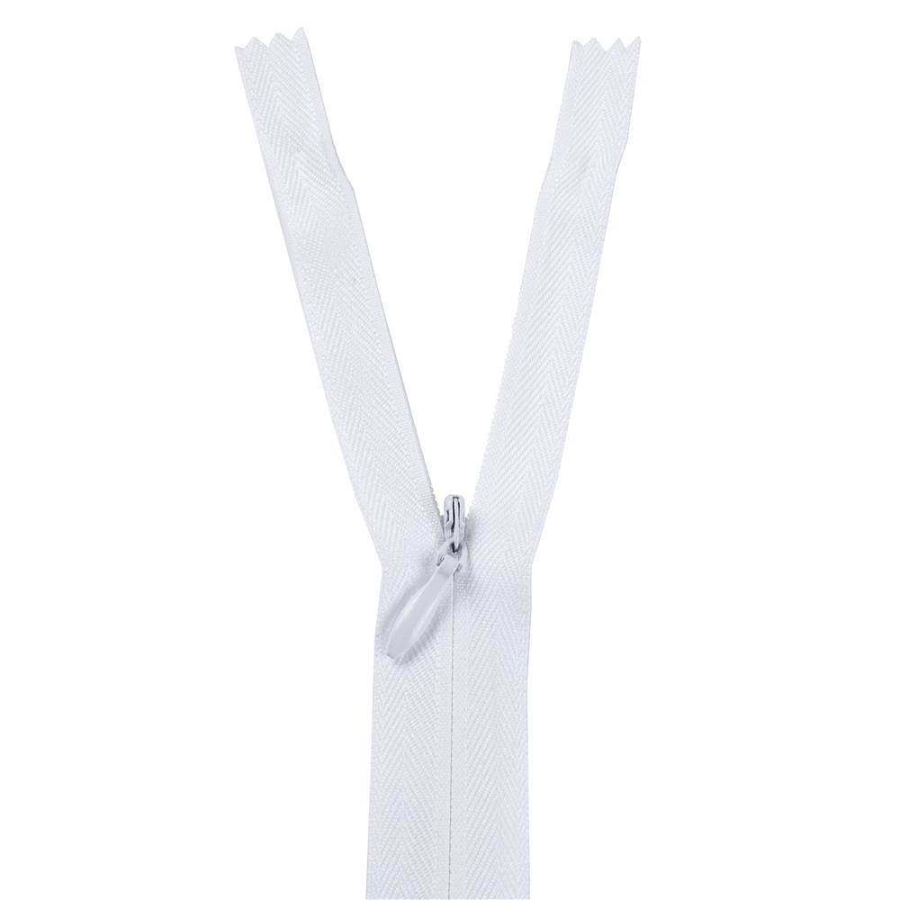 "7/9"" Poly Invisible Zipper White"