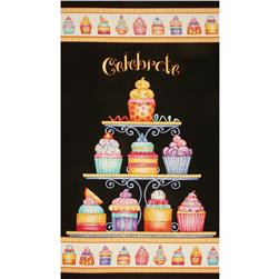 "Sweet Things 24"" Cupcakes Panel Black/Multi"